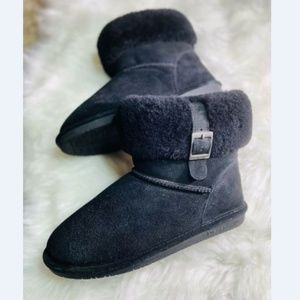 Bearpaw Abby Women's Black Suede Foldover Boots 10